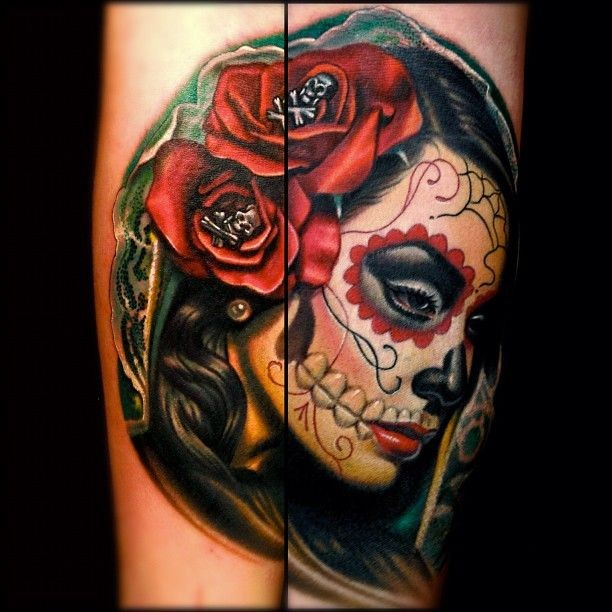 Vivid colors santa muerte with red roses tattoo