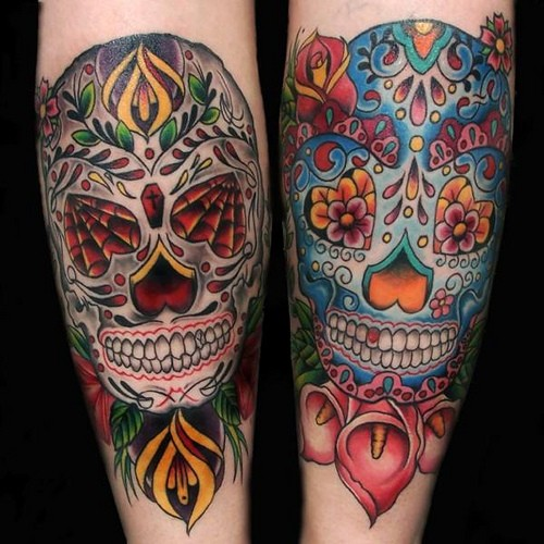 Vivid colors sugar skull forearm tattoo