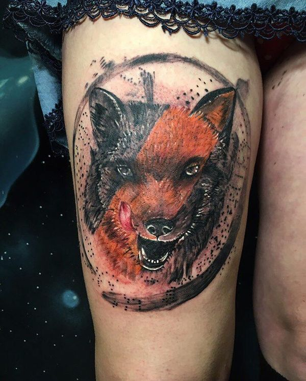 Vivid colors trash polka fox tattoo on thigh for girls