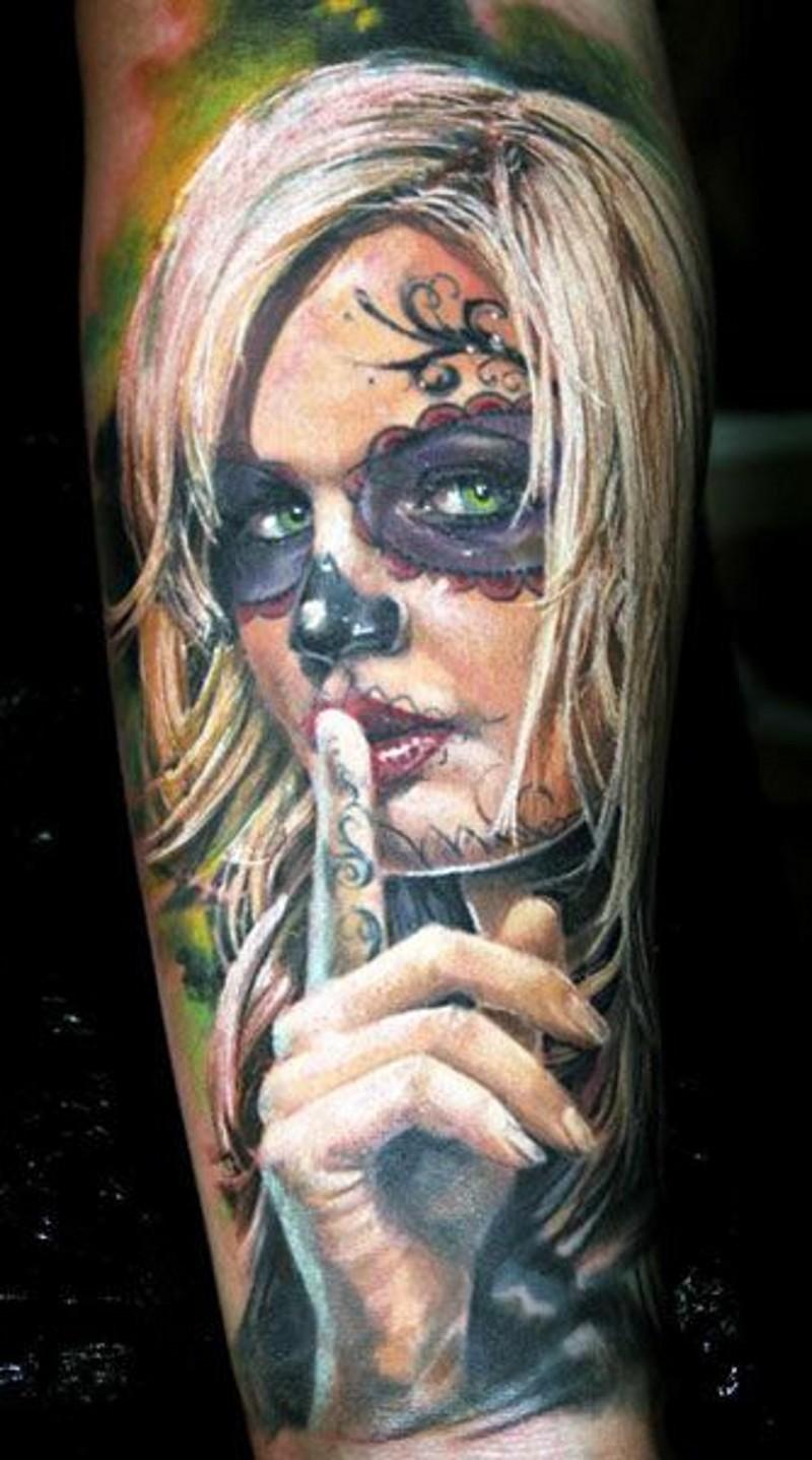 Warning blonde santa muerte girl forearm tattoo