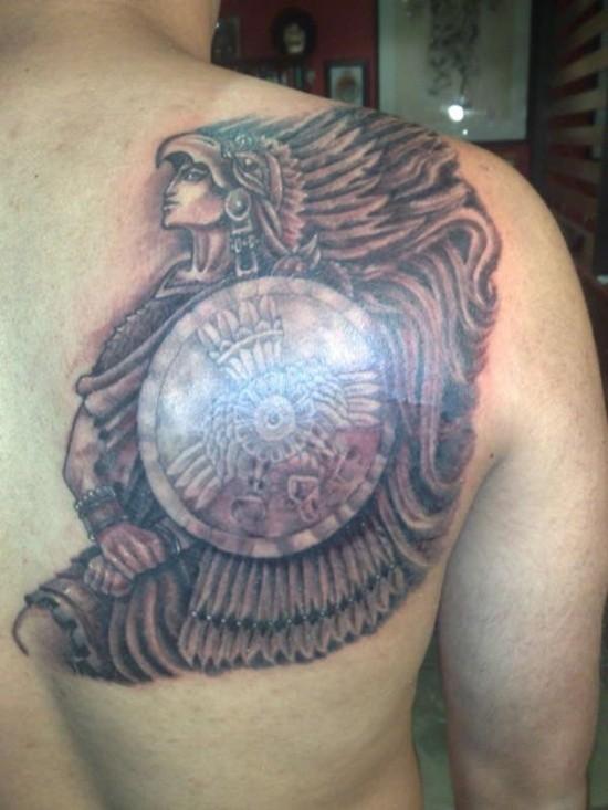 Warrior Headdress Tattoo Warrior in Indian Headdress