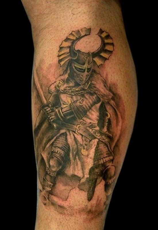 Warrior with helmet and sword tattoo