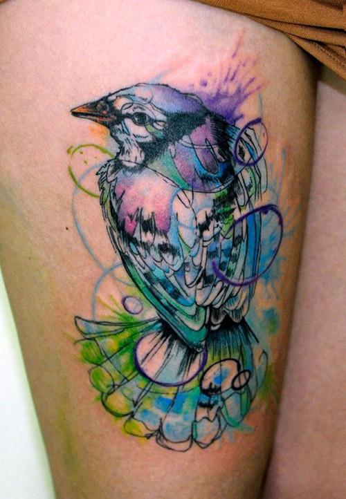 Watercolor bird tattoo koray karagozler