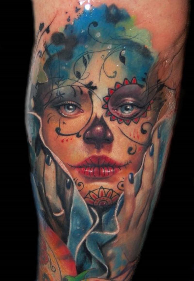 Watercolor beautiful santa muerte girl tattoo