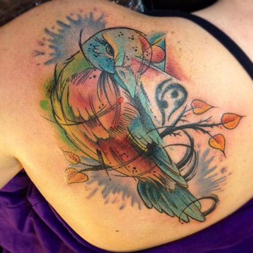 Watercolor bird tattoo