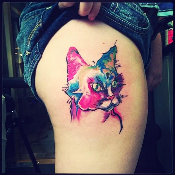 Watercolor cat tattoo on leg