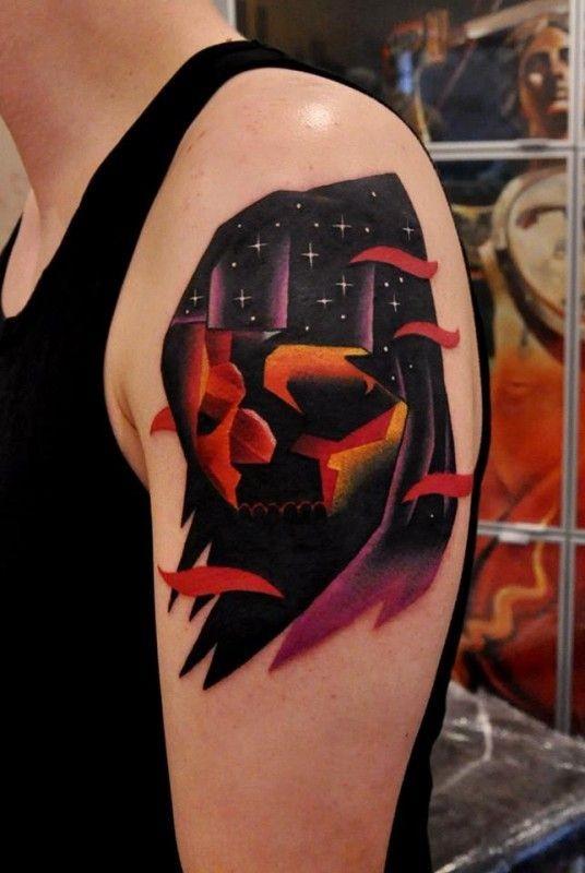 Watercolor death tattoo by aleksander surowiec