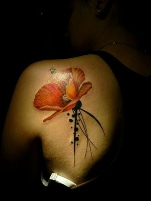 Watercolor elegant red poppy tattoo