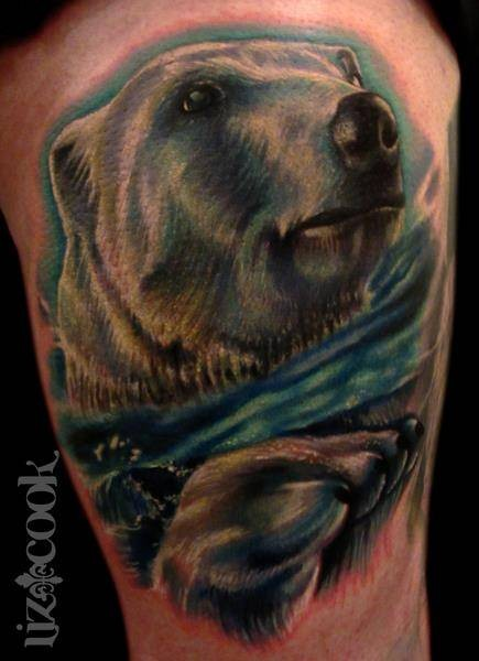 Watercolor floating polar bear tattoo by liz cook