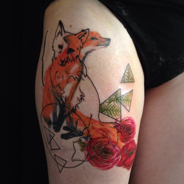 Watercolor fox and flowers tattoo on hip