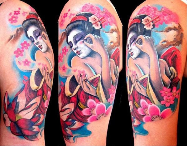 Watercolor geisha and cherry blossoms tattoo on half sleeve