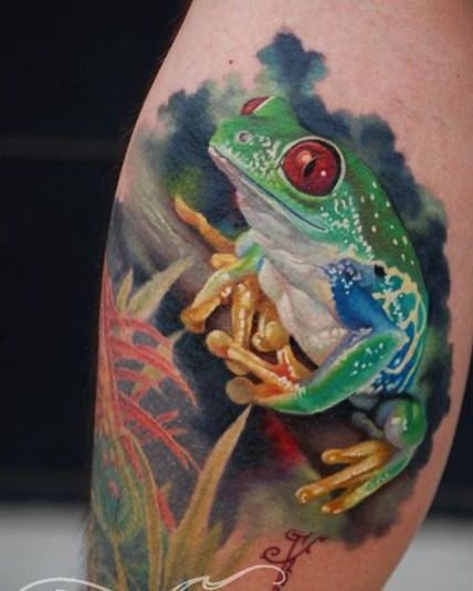 Watercolor green frog with red eyes tattoo