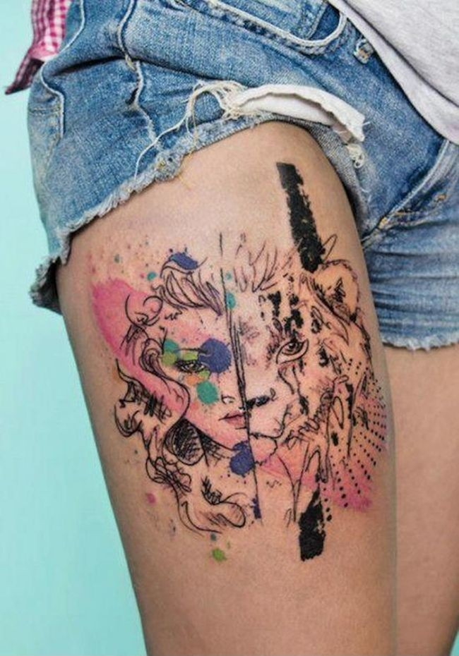 acquerello meta uomo meta tigre tatuaggio sulla coscia