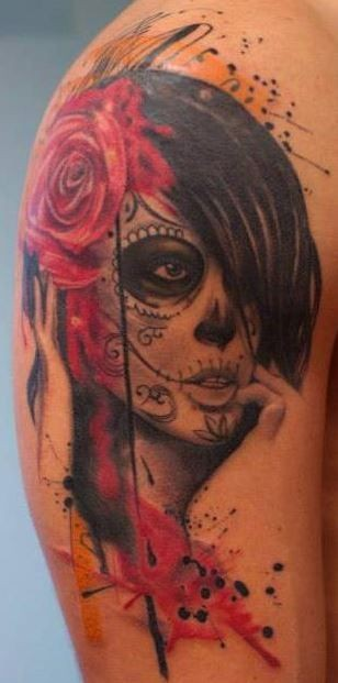 Watercolor nice santa muerte with red roses in black haired tattoo on shoulder