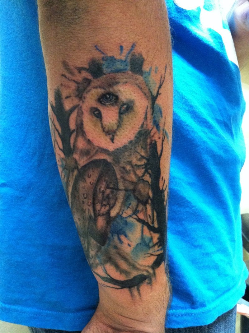 Watercolor owl tattoo for Watercolor owl tattoo