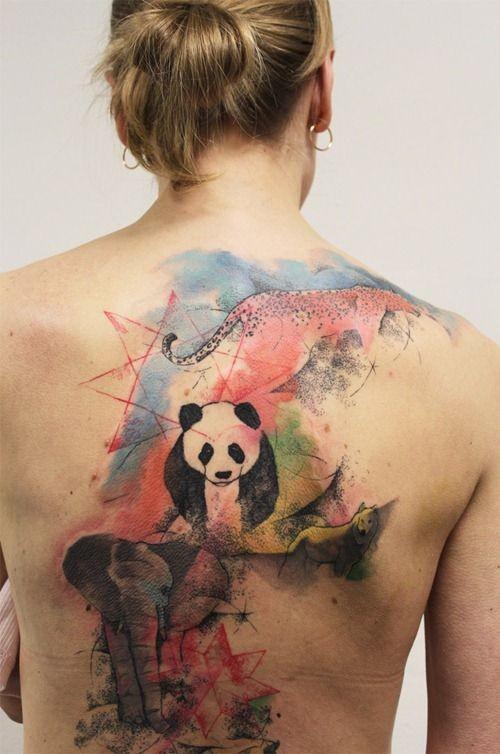 Watercolor panda and elephant tattoo on back