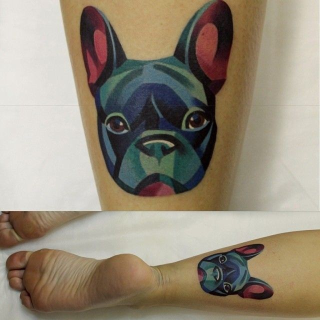 Watercolor portrait doggy tattoo on leg by Sasha unisex