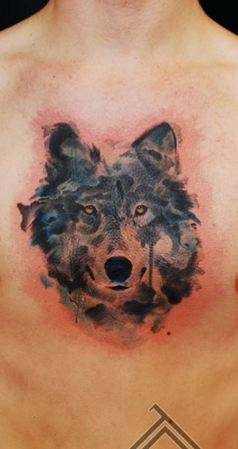 Watercolor Portrait Of Dark Wolf Tattoo On Chest