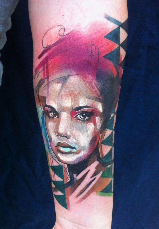 Watercolor portrait of girl forearm tattoo by Ivana Belakova