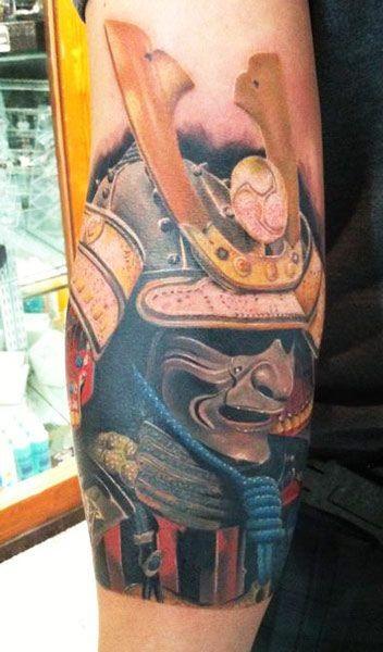 ritratto samurai acquerello tatuaggio da Daniel Rocha