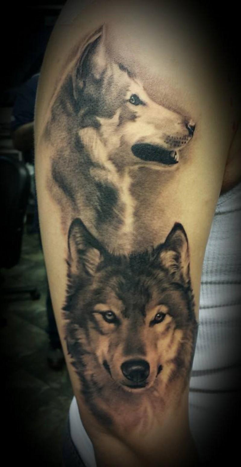 acquerello ritratto di due lupi tatuaggio a mezza manica