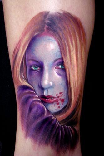 acquerello ritratto giovane vampiro tatuaggio