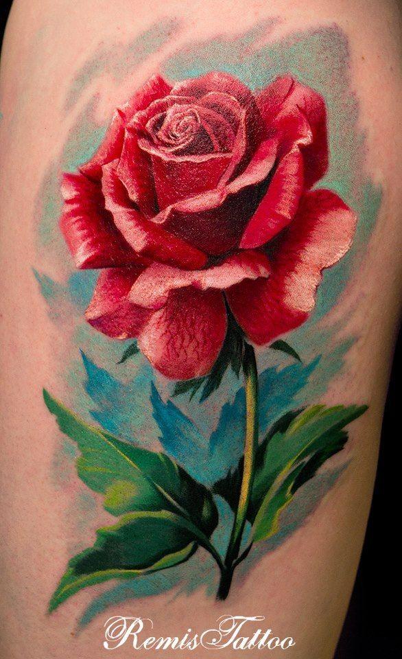 Tatuaggio simpatico la rosa rossa by Remis