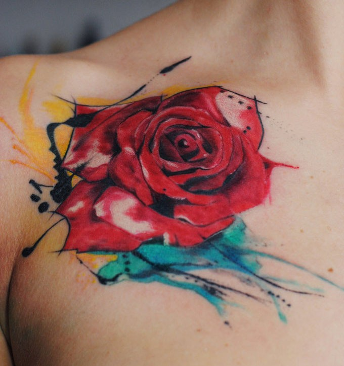 watercolor rose tattoo by dopeindulgence. Black Bedroom Furniture Sets. Home Design Ideas