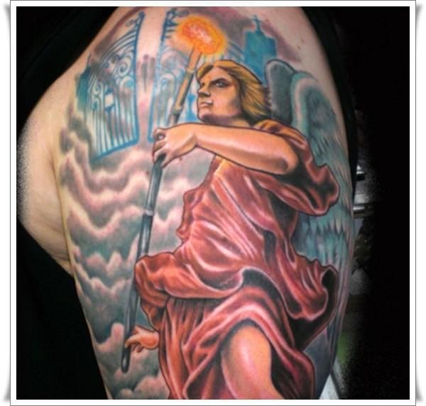 Watercolor saint michael tattoo on half sleeve