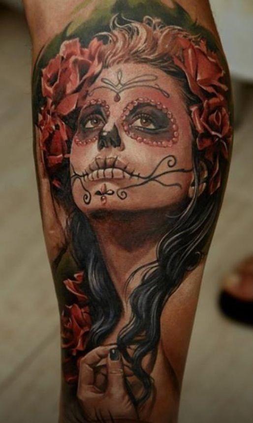 Watercolor santa muerte girl tattoo on leg