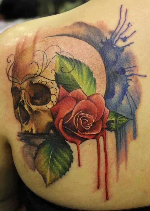 Watercolor Skull And Red Rose Tattoo On Shoulder Blade