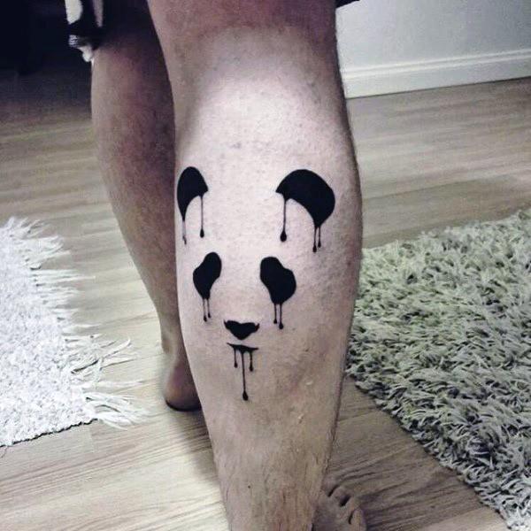 Watercolor style beautiful looking leg tattoo of panda bear figures