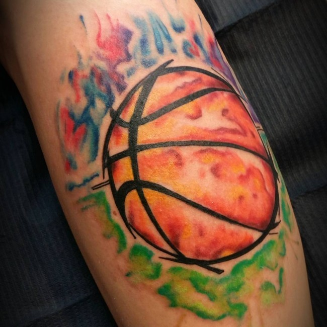 watercolor style colored leg tattoo of burning basketball. Black Bedroom Furniture Sets. Home Design Ideas