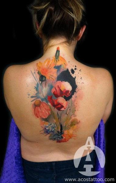 Watercolor style creepy looking back tattoo of beautiful flowers