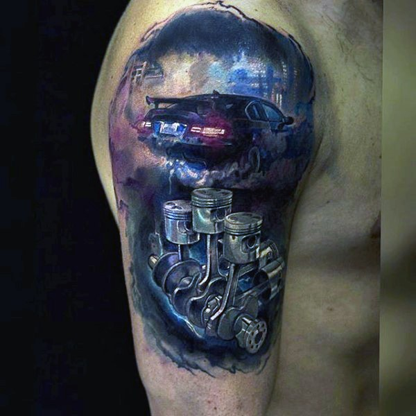 Watercolor style incredible shoulder tattoo of smoking car and engine parts