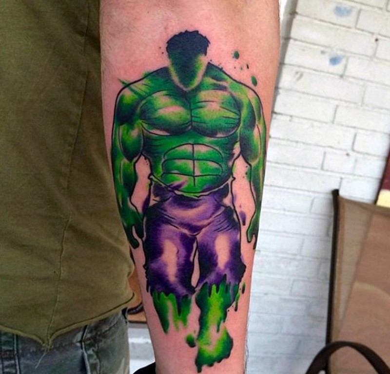 Watercolor style multicolored forearm tattoo of mystical Hulk