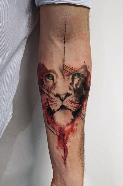 Watercolor style original designed forearm tattoo of lion face