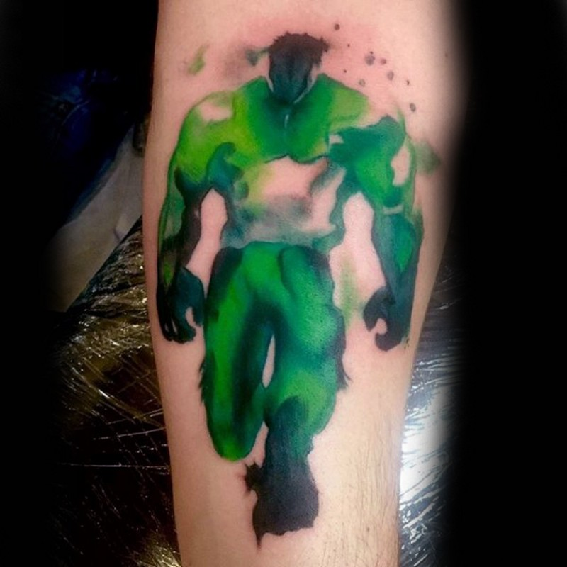 Watercolor style painted forearm tattoo of mystical Hulk