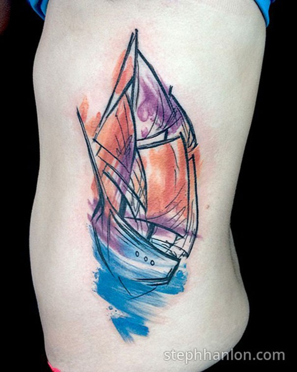 Watercolor style side tattoo of small sailing ship