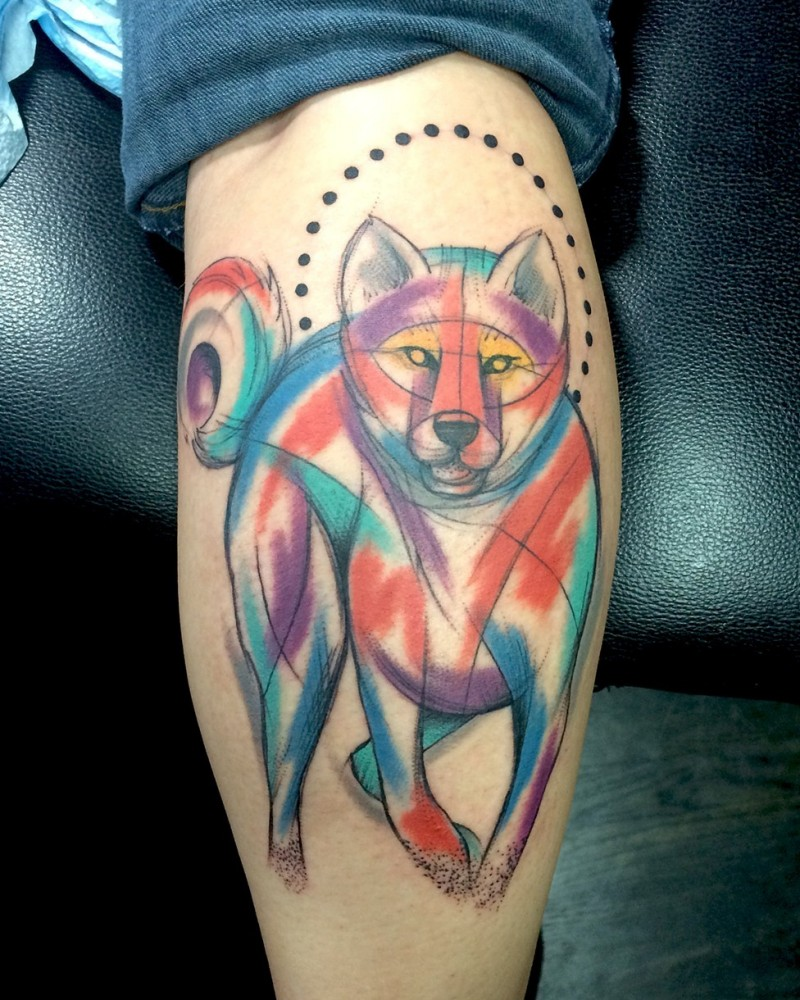 Watercolor style stunning looking leg tattoo of evil wolf