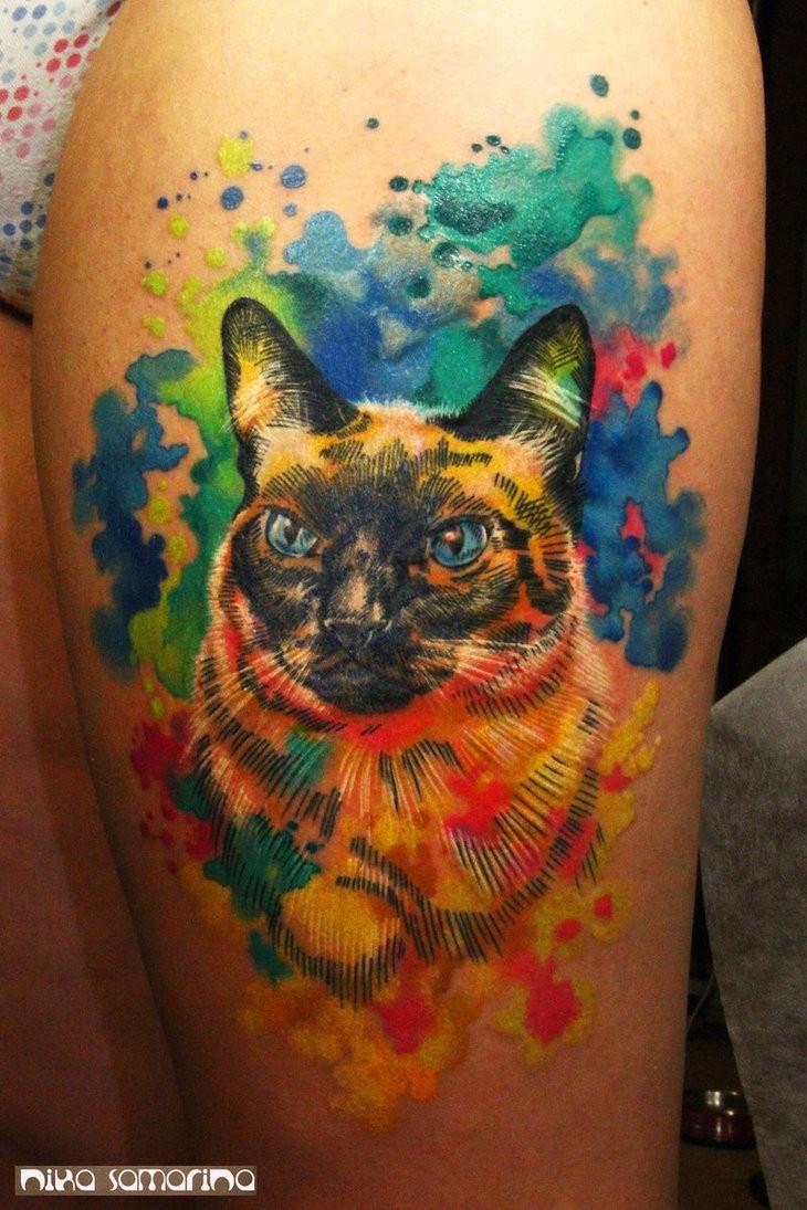 Watercolor tattoo cat by nikasamarina
