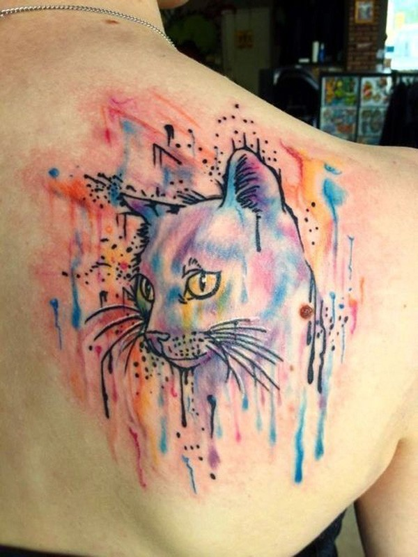 Watercolor tattoo cat on upper back for girls