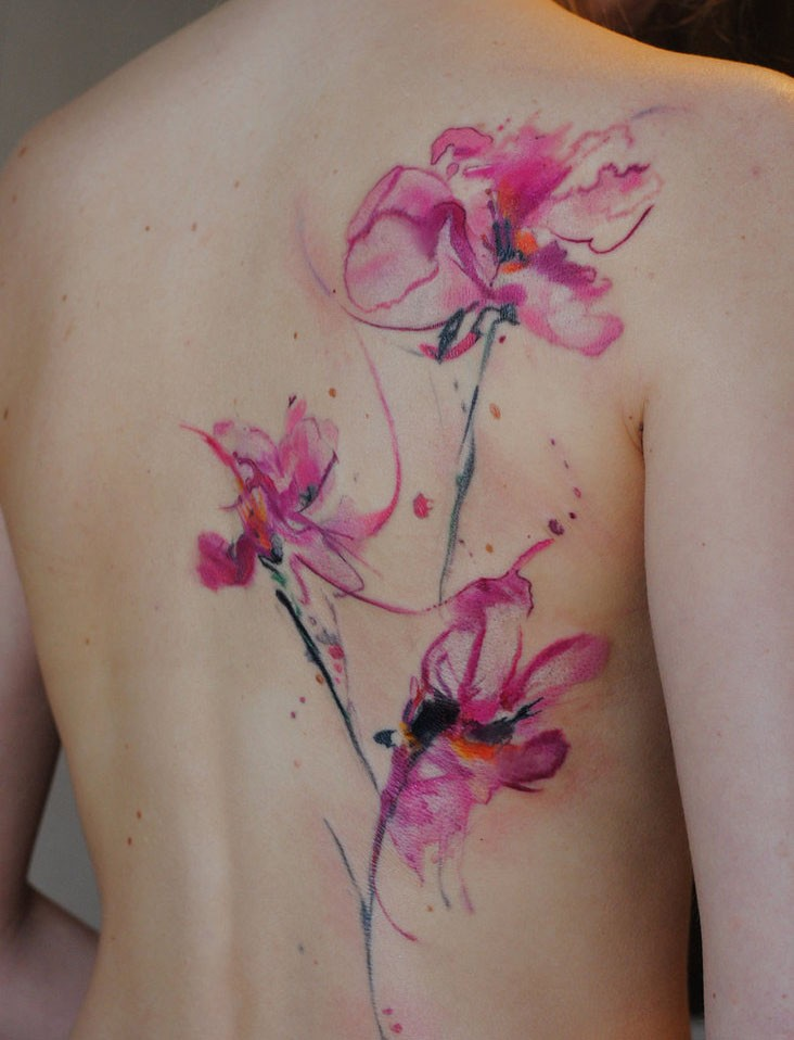 Watercolor tattoo orchids by dopeindulgence