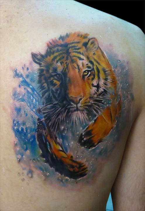 Tattoo of running in river tiger by bhbettie