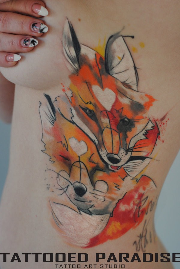 Watercolor two foxes by dopeindulgence