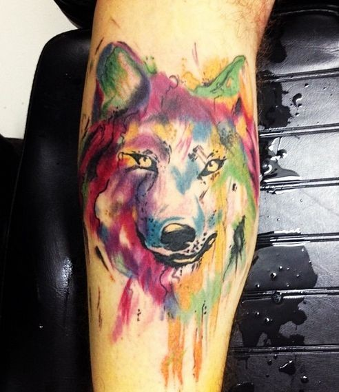 watercolor wolf tattoo. Black Bedroom Furniture Sets. Home Design Ideas