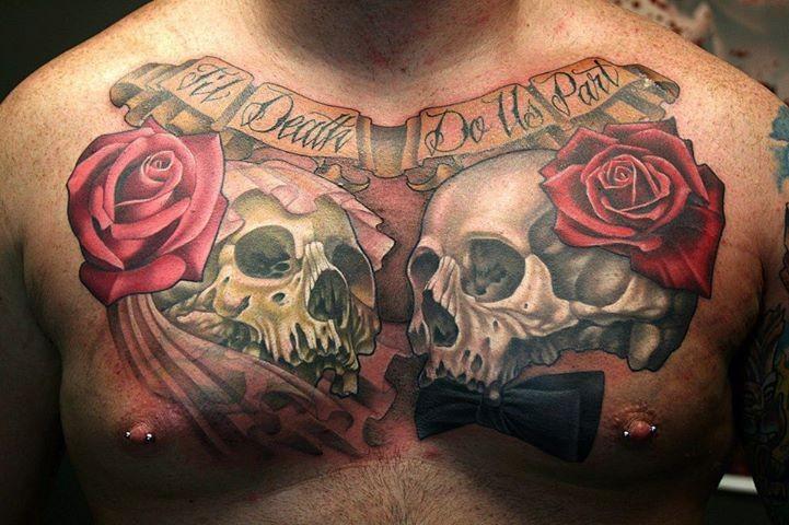 Wedding skulls tattoo on chest
