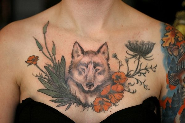 weird wolf in red poppy flowers unique style detailed tattoo on chest. Black Bedroom Furniture Sets. Home Design Ideas