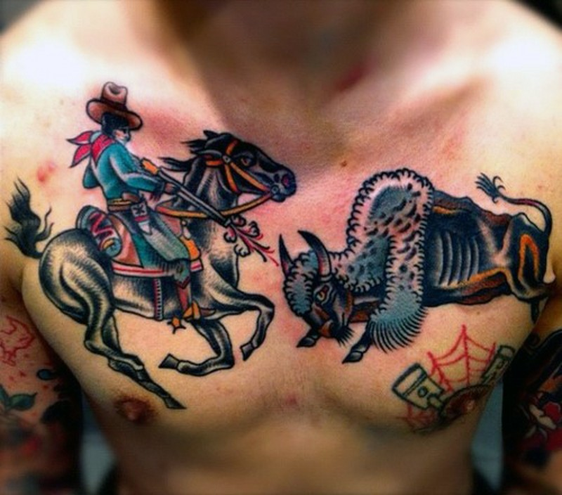 ae0caa1fc Western themed colored cowboy with bull tattoo on chest ...