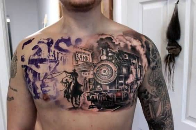 Western themed colorful chest tattoo of train and cowboy